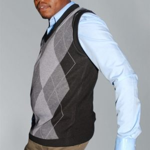 Men's Knit Wear;  Diamond Print V-Neck Classic Sleeveless Sweater.