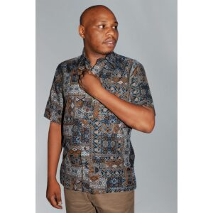 Men's shirts; His Exclusive Luxury Casual Mix Prints Peach Shirts.