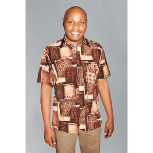 Men's Shirt; His Exclusive Printed Peach Casual Short Sleeved Shirt