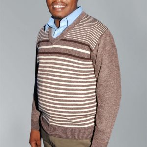 Men's knit wear; Stripped sleeved sweater.