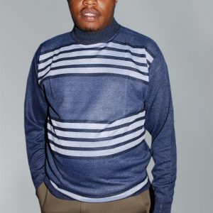 Men's Knit Wear; Round-Neck Stripped Sleeved Sweater.