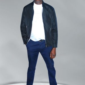 Men's Black And Dark-Blue Urban Fashion Jacket
