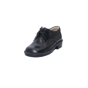 Kids Shoes; Black Genuine Leather Lace-Up Children Shoes #28-39